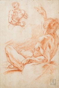 Studies of a Reclining Male Nude, Seen from Behind with One Arm Raised, and a Man Grimacing in Pain