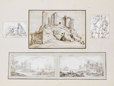 An Album Page with Five Drawings: