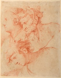 Studies of Three Heads: A Woman, a Satyr and a Youth