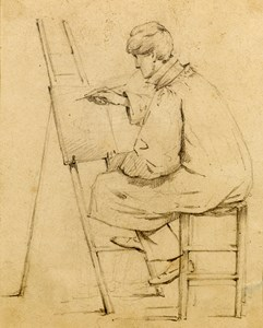 An Artist Seated at an Easel