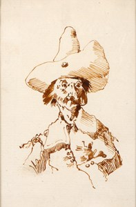 Caricature of a Man in a Tall Hat