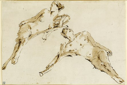 A Reclining Satyr and Satyress
