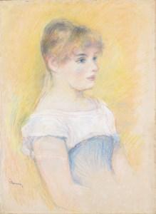 Portrait of Jeanne Samary (Fille au corset bleu) (Une blonde aux yeux bleus, vue de trois quarts sun un fond jaune)
