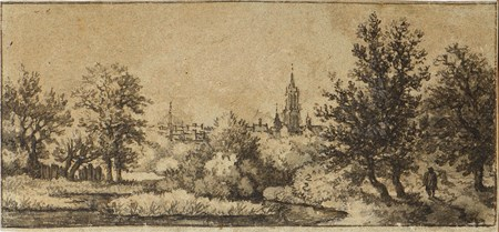 A Wooded Landscape, with Traveller on a Path at the Right and a Church and City in the Distance