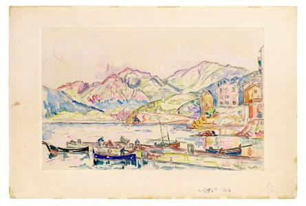 View of a Mediterranean Port (The Bay of Ajaccio, Corsica?)
