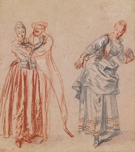 Studies of a Woman Spurning a Man's Advances and a Woman Leaning Back