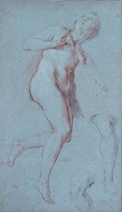 Study of a Female Nude, with Two Separate Studies of a Leg