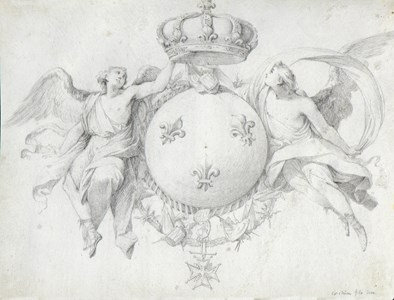 Two Angels Flanking the Coat of Arms of France