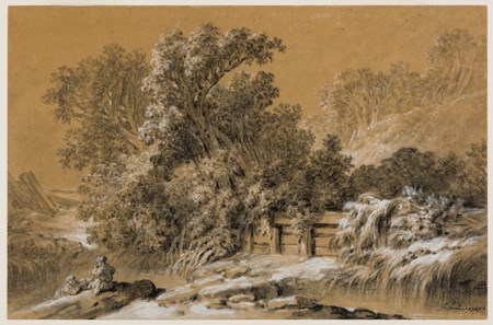 Winter Landscape with Two Children