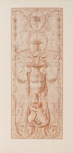 Design for a Decorative Panel with Two Sirens Holding a Vase Embellished with Dolphins and other Decorative Motifs