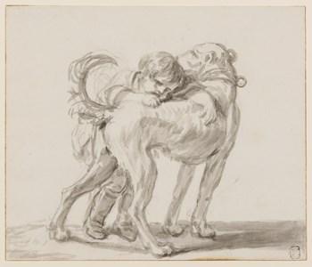 A Child Hugging a Dog