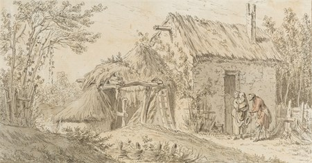 Landscape with a Beggar and a Woman and Child Outside a Cottage