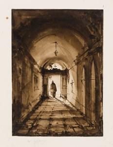 A Monk in the Doorway of a Monastery Corridor