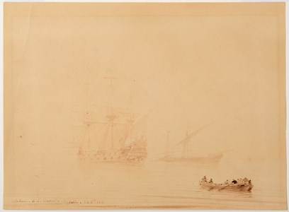 A Party Rowing Ashore from a Warship on a Misty Morning