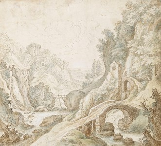 An Italianate River Landscape with Bridges in the Foreground, a Temple in the Distance