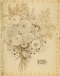 A Bunch of Flowers: New Year's Greeting Card, 1927