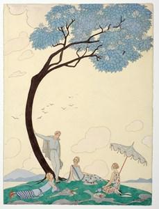 Sur l'Herbe: A Group of Elegant Figures in a Landscape