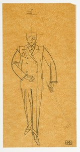 A Walking Man in a Suit, with a Cane