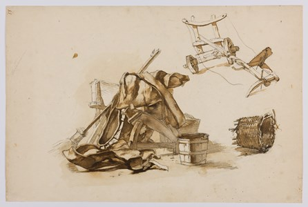 Studies of a Plow, Baskets and Agricultural Implements