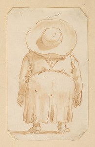 A Caricature of a Short Man seen from Behind, Wearing a Large Hat