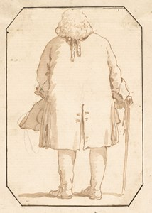 A Caricature of a Man seen from Behind, with a Cane and Holding a Tricorne Hat
