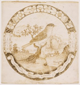 A Bird in an Extensive Landscape, in a Decorated Surround