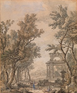 Italianate Landscape with Shepherds Dancing among Classical Ruins