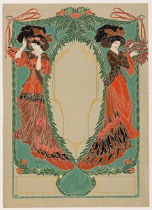 Two Elegant Women: Design for the Cover of Les Modes