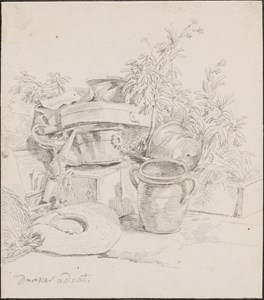 The Corner of a Terrace, with Flower Pots, Garden Tools and a Straw Hat