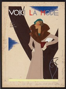 Woman in a Fur-Trimmed Beige Coat by Lucien Lelong: Design for the Cover of Voici La Mode Magazine
