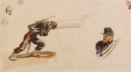 A Soldier Pushing a Cannon, and other Studies of Soldiers