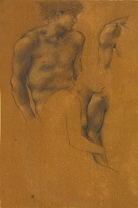Studies for The Garden of Pan: The Head and Torso of a Male Nude and Two Studies of Arms