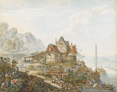 A Rhine Landscape with Peasants at Work, after Herman Saftleven
