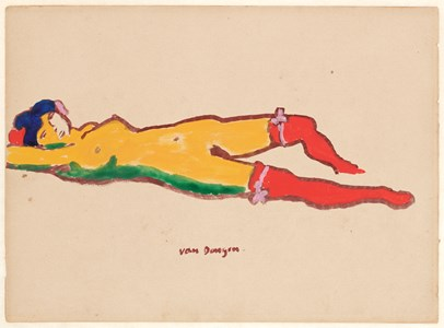 Reclining Nude with Red Stockings (Nu couché aux bas rouges)