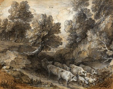 Wooded Landscape with Cattle and Goats