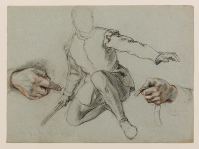 Study of a Kneeling Soldier and Two Studies of Hands [recto]; Five Studies of Hands [verso]