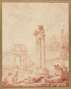 An Architectural Capriccio of the Roman Forum, with Figures by the Temple of Castor and Pollux and the Arch of Titus