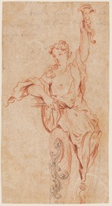 Design for a Decorative Motif: A Partially Draped Young Woman Holding a Sconce Aloft