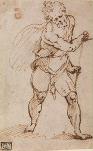 Study of a Man Sheathing a Sword, Looking Down