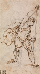 Study of a Man Sheathing a Sword, Facing Right