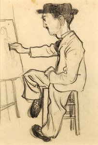 A Seated Artist, Possibly Toulouse-Lautrec, Drawing at an Easel