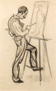 Caricature of an Artist, thought to be Adolphe Crespin, Painting at an Easel