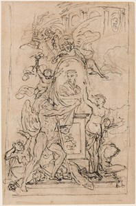 Study for a Frontispiece or Monument, with Allegorical Figures Surrounding an Oval Portrait of a Young Woman