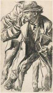 Studies of a Man Wearing a Hat and Coat and Bending Forward