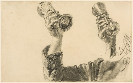 Two Studies of a Right Arm and Hand Holding a Glass