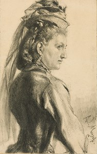 A Woman with a Hat, in Profile to the Right