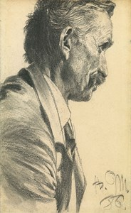 A Man with a Moustache, Facing Right