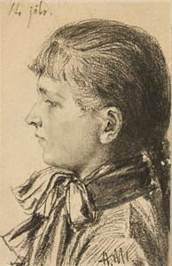The Head of a Fourteen-Year Old Girl, in Profile to the Left