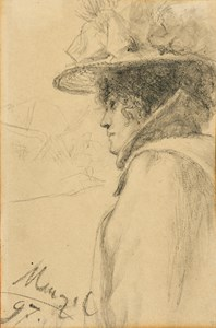 A Woman in a Large Hat, Facing Left