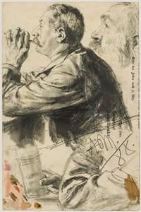 Studies of a Man Smoking, in Profile